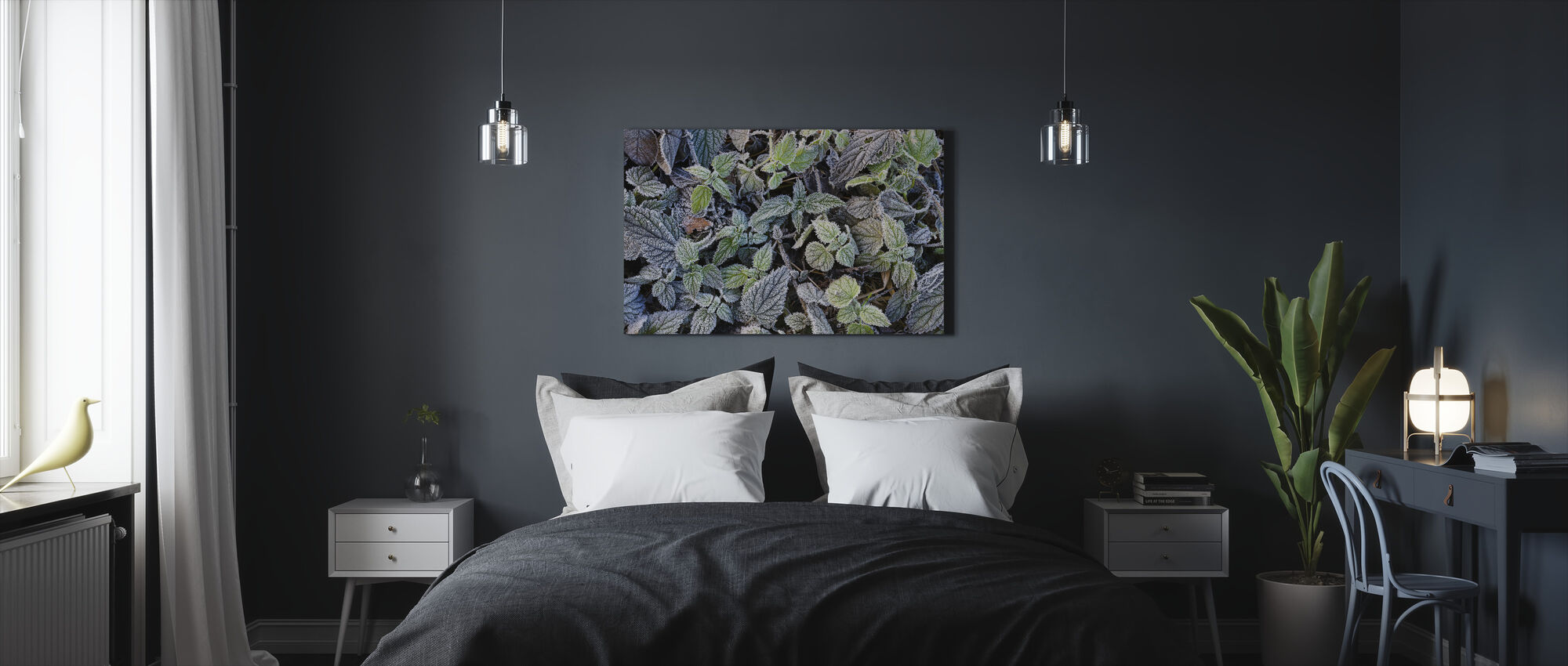 Frosty Leaves - Canvas print - Bedroom