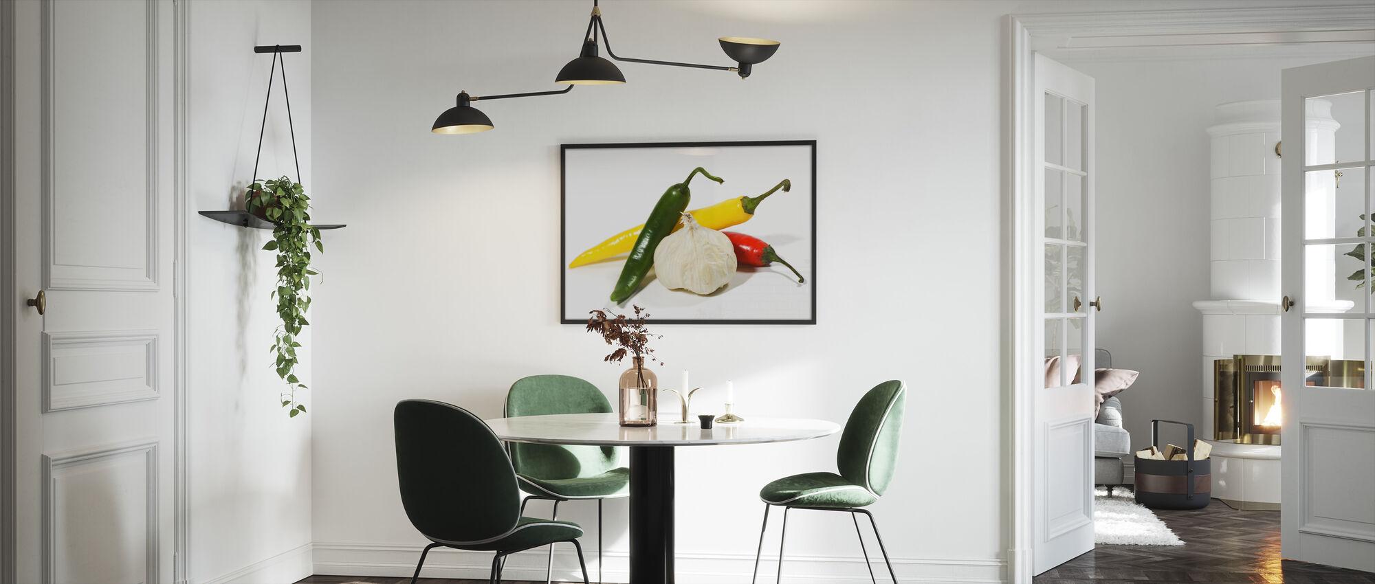 Jalapeño and Garlic - Framed print - Kitchen