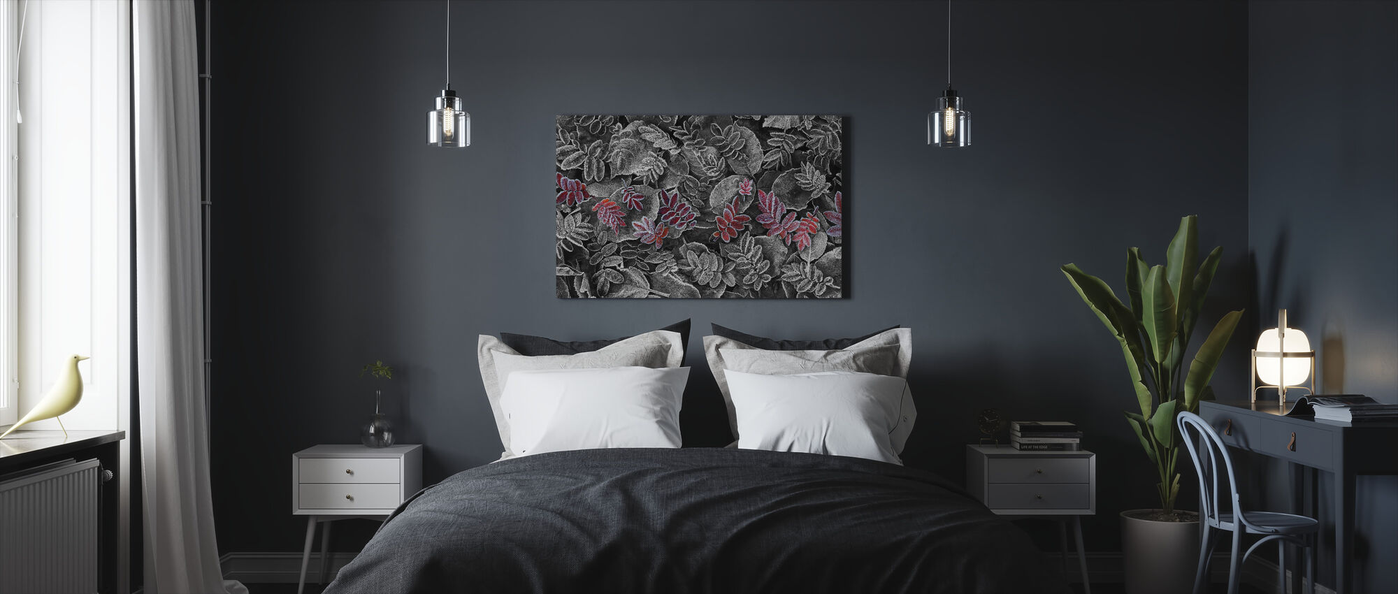 Frosty Leaves Red - Canvas print - Bedroom