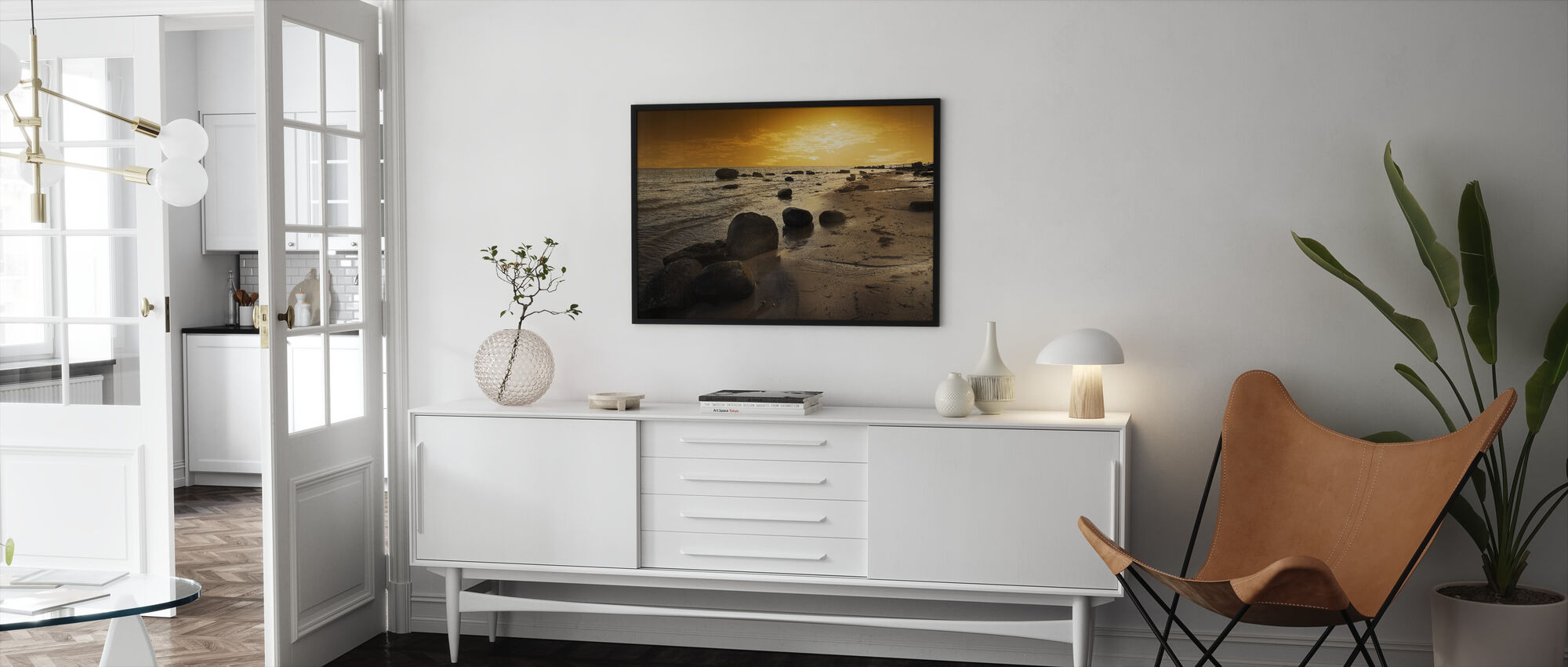 Golden Beach Sunset - Framed print - Living Room