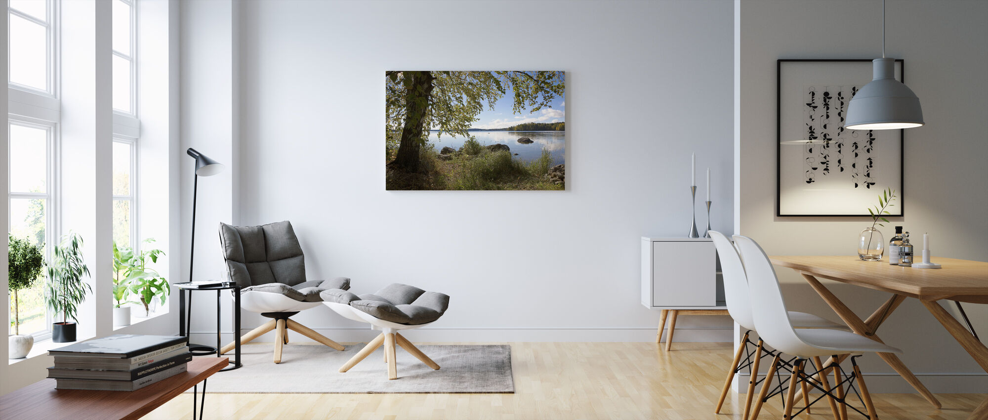 Birch by the Lake - Canvas print - Living Room