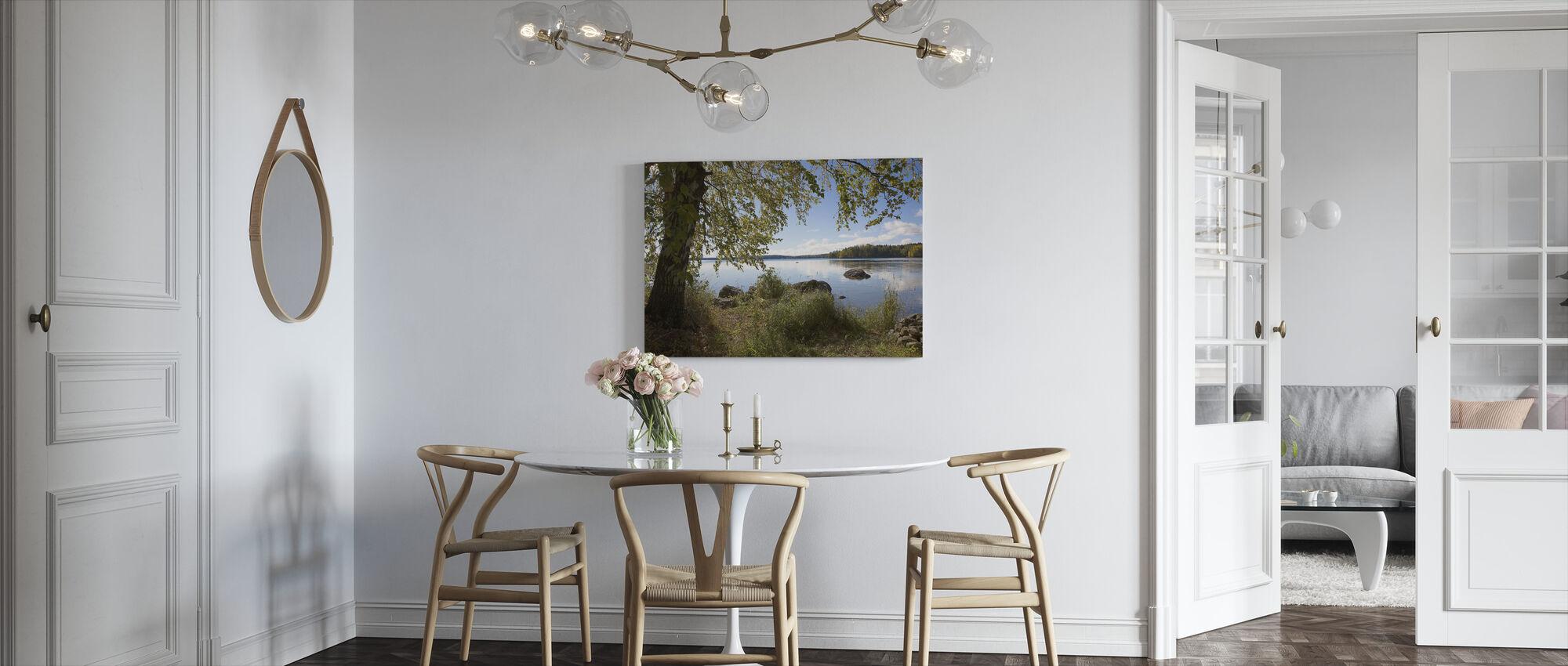 Brzoza nad jeziorem - Obraz na płótnie - Kuchnia