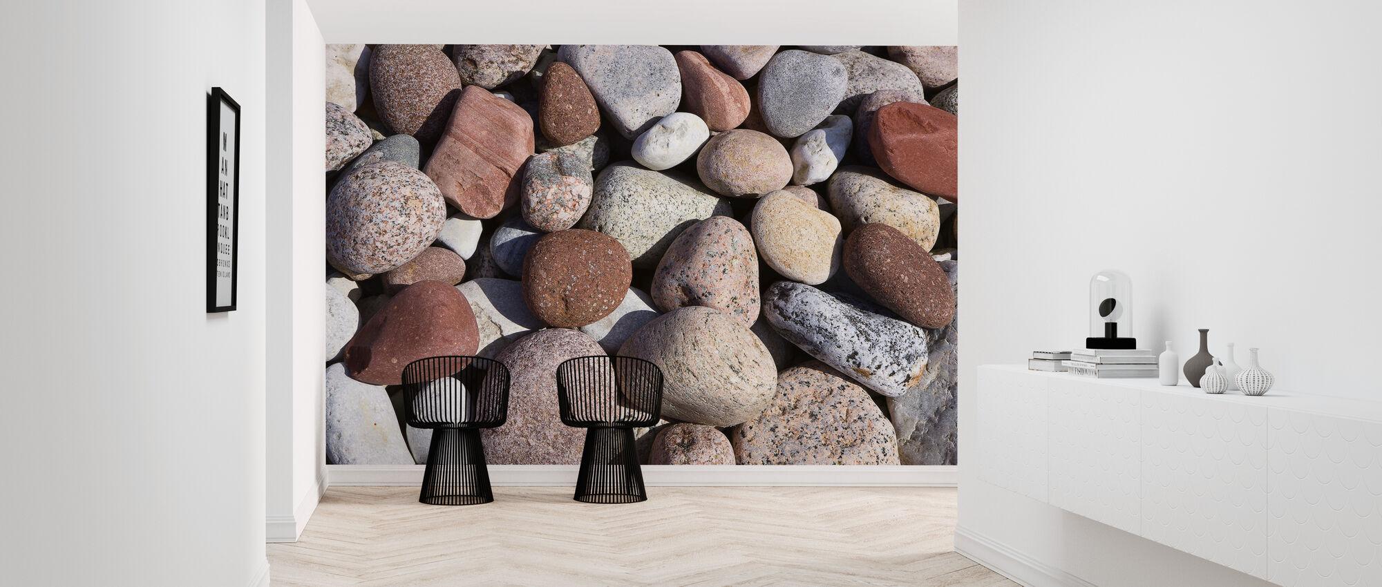 Kleurrijke gepolijste stenen - Behang - Gang
