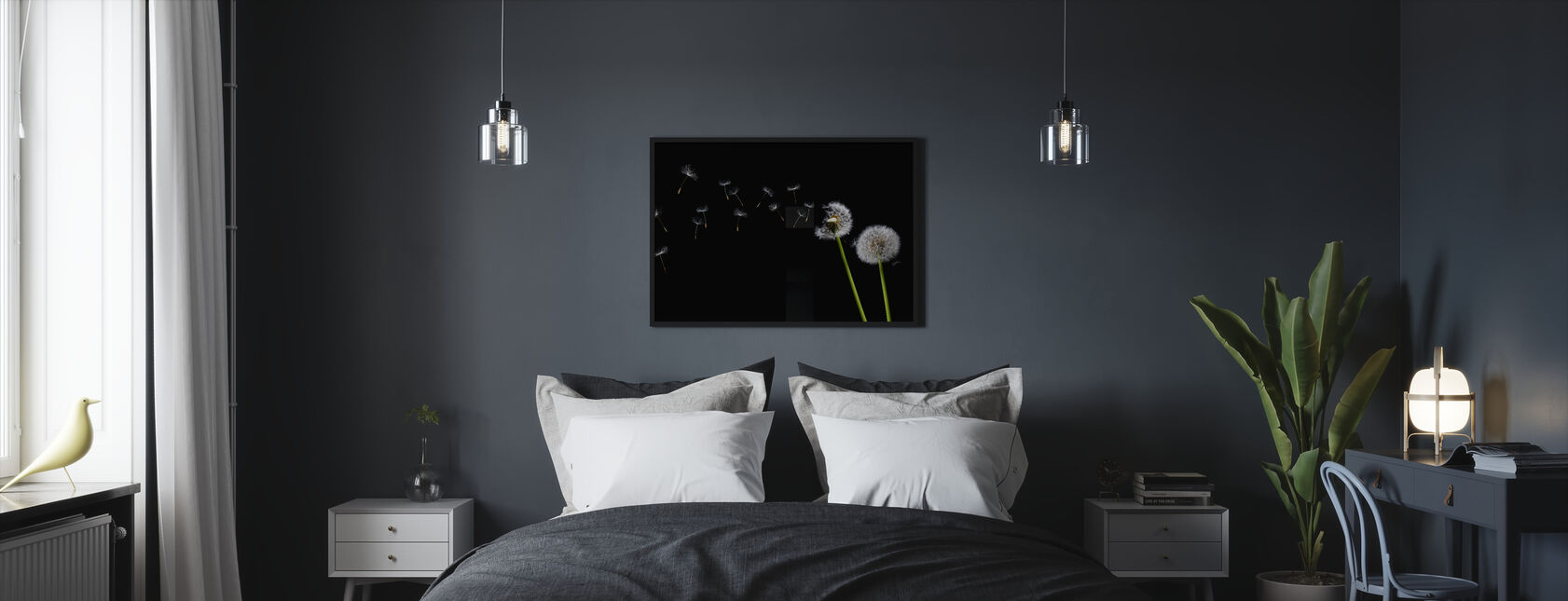 Dandelion Seeds in the Wind - Framed print - Bedroom