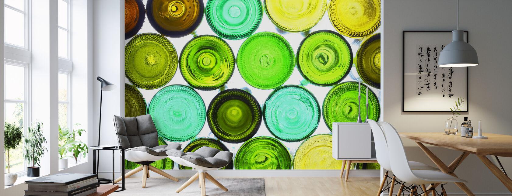 Färgglada flaskbottnar - Tapet - Vardagsrum