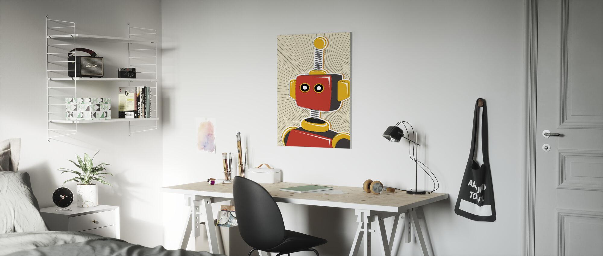 Retro Robot - Billede på lærred - Børneværelse