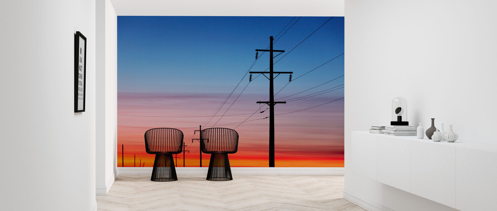 Power Lines at Sunset - Wallpaper - Hallway