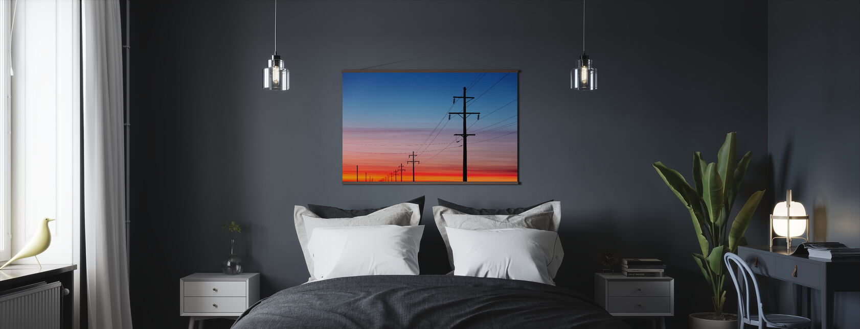 Power Lines at Sunset - Poster - Bedroom