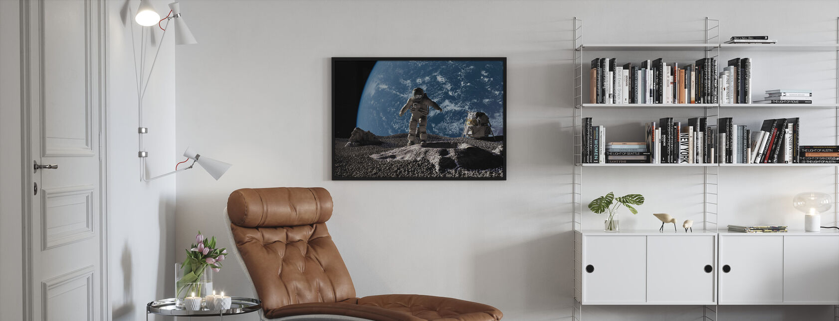 Astronaut with Earth in Background - Framed print - Living Room