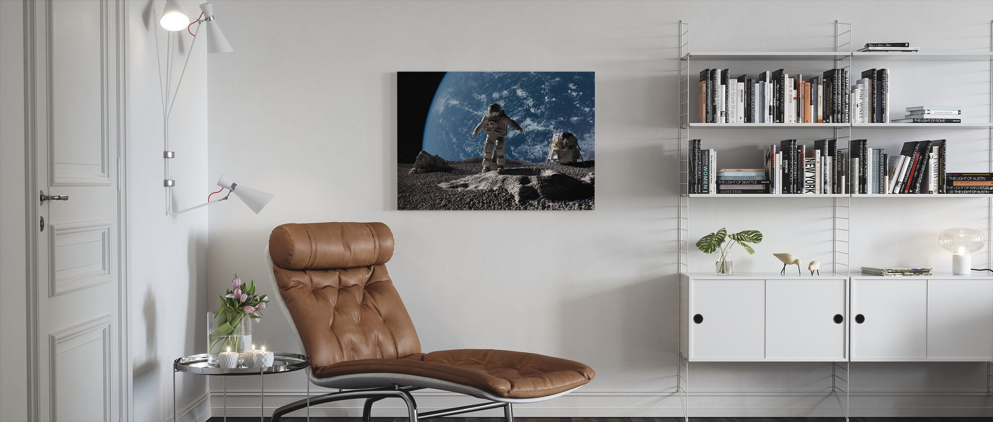 Astronaut with Earth in Background - Canvas print - Living Room