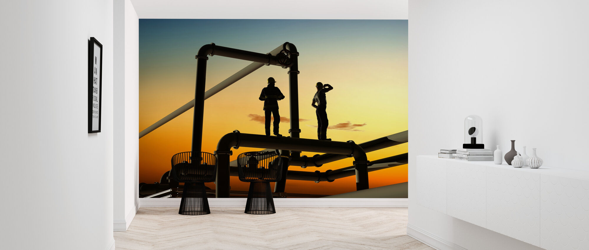 Oil Workers and Pipes in Sunset - Wallpaper - Hallway