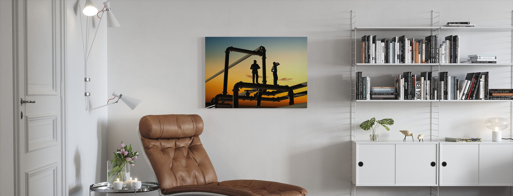 Oil Workers and Pipes in Sunset - Canvas print - Living Room