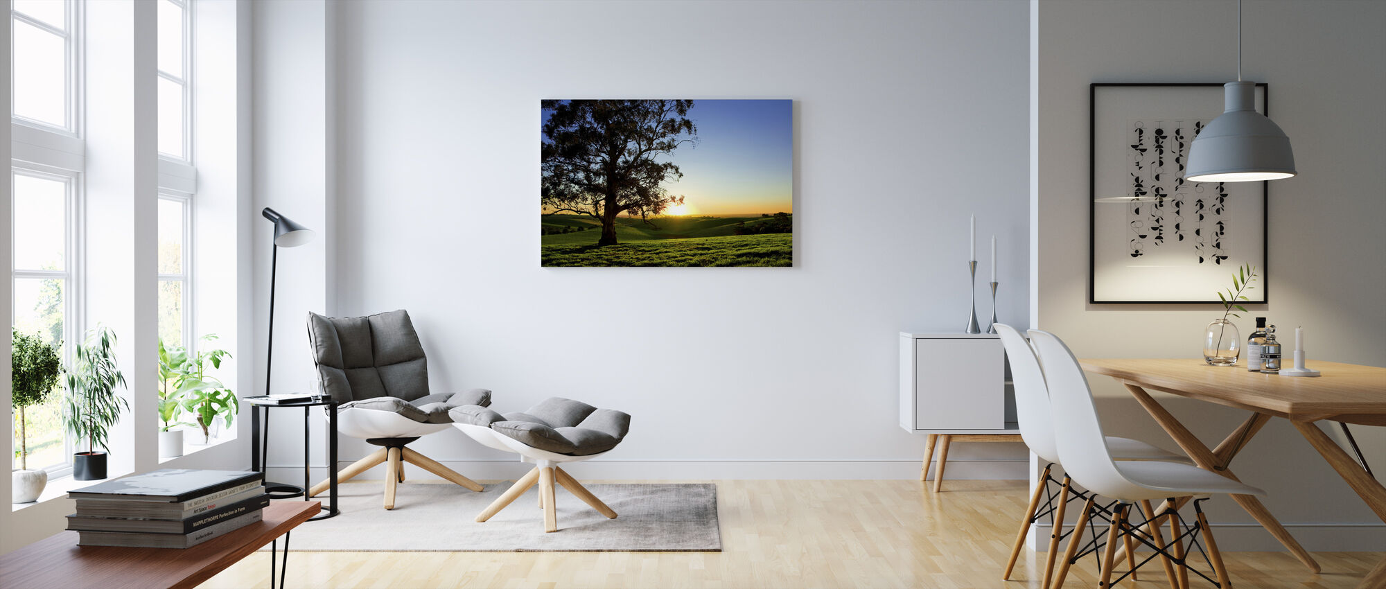 Beautiful Sunset Over a Rural Meadow - Canvas print - Living Room