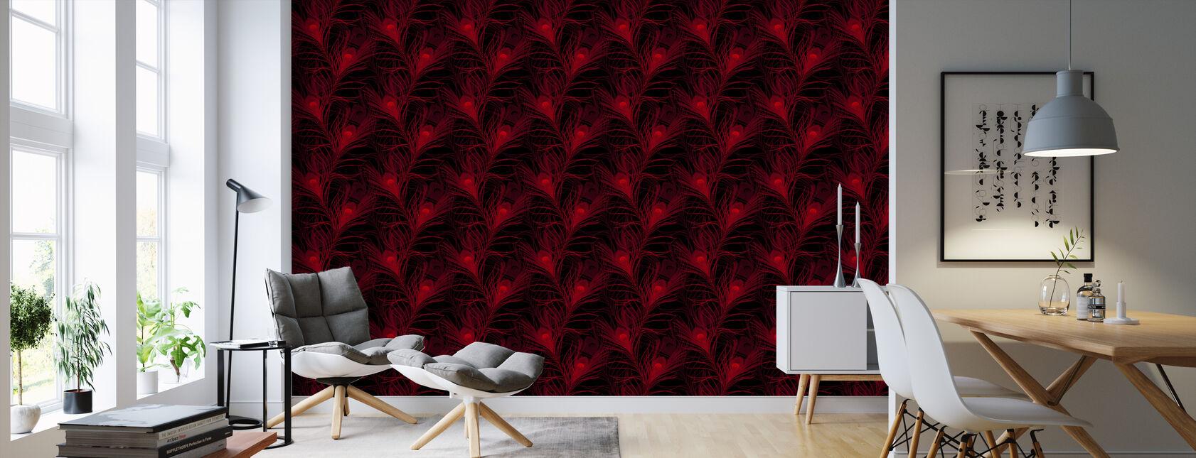 Påfågel glödande röd - Tapet - Vardagsrum