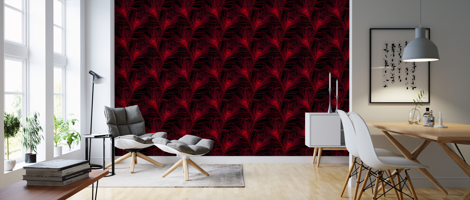 Peacock Glowing Red - Wallpaper - Living Room