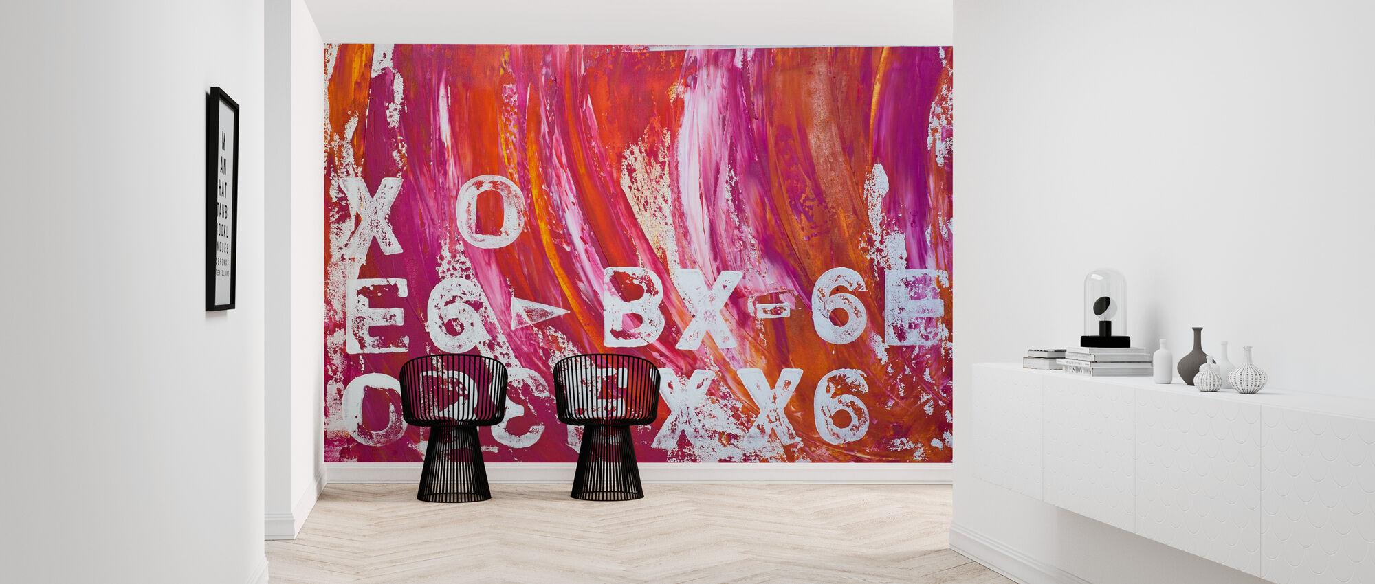 Abstract Schilderij Letters - Behang - Gang