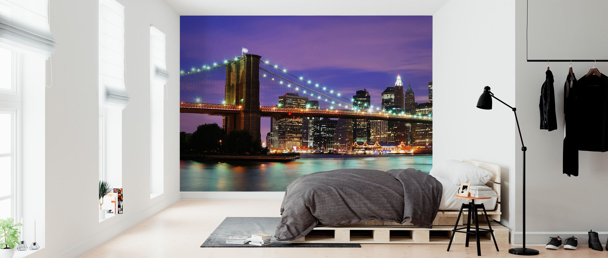 Brooklyn Bridge at Night - Wallpaper - Bedroom