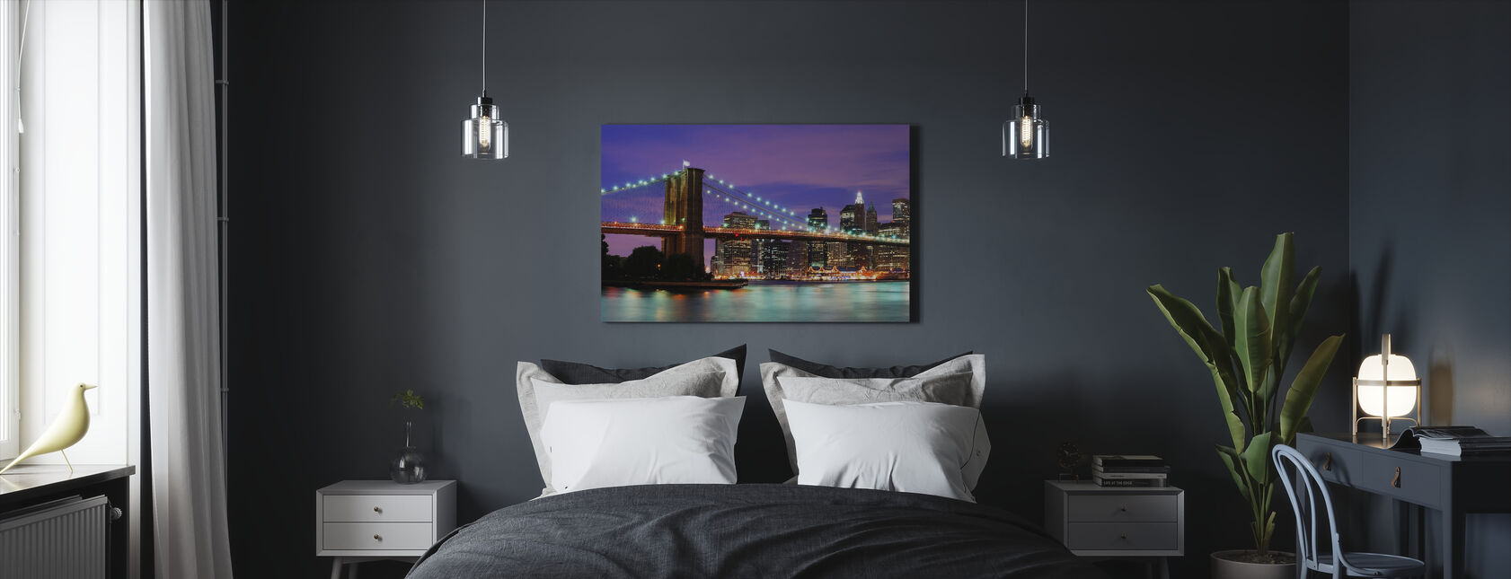 Brooklyn Bridge på natten - Canvastavla - Sovrum