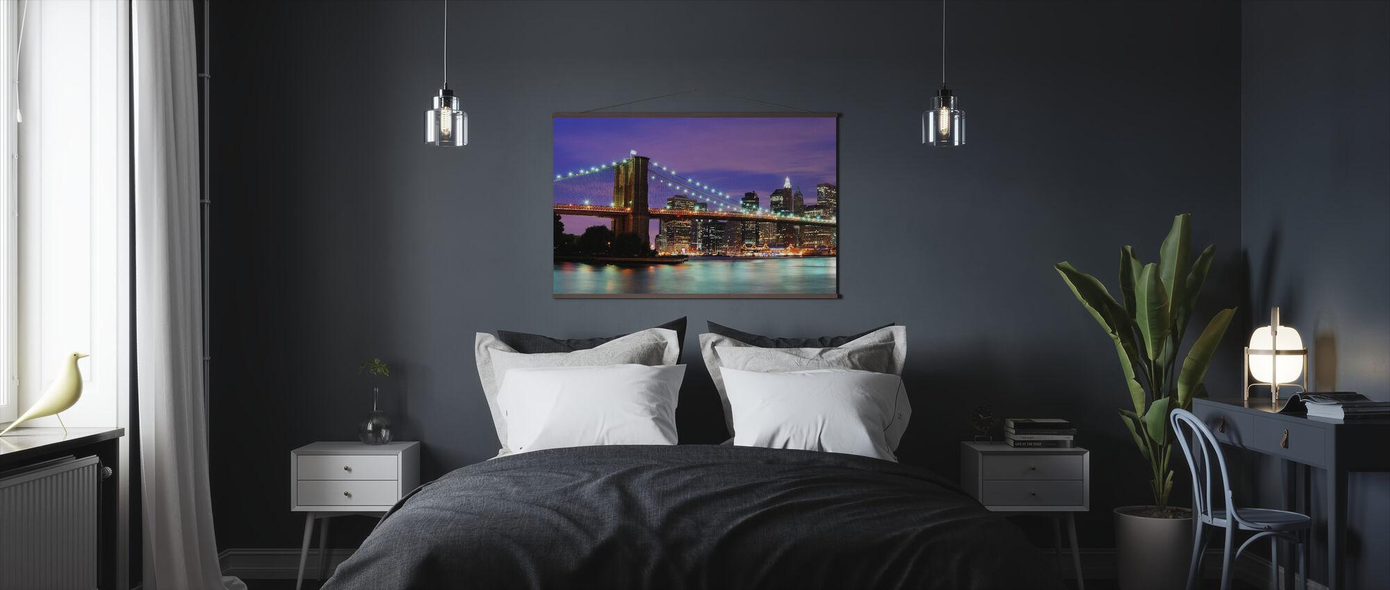 Brooklyn brug bij nacht - Poster - Slaapkamer
