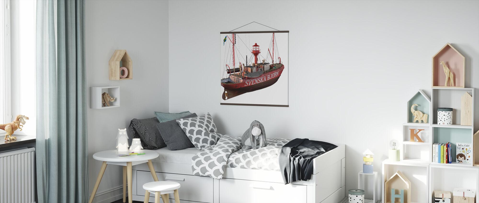 The lighthouse ship Swedish Bjorn - Poster - Kids Room