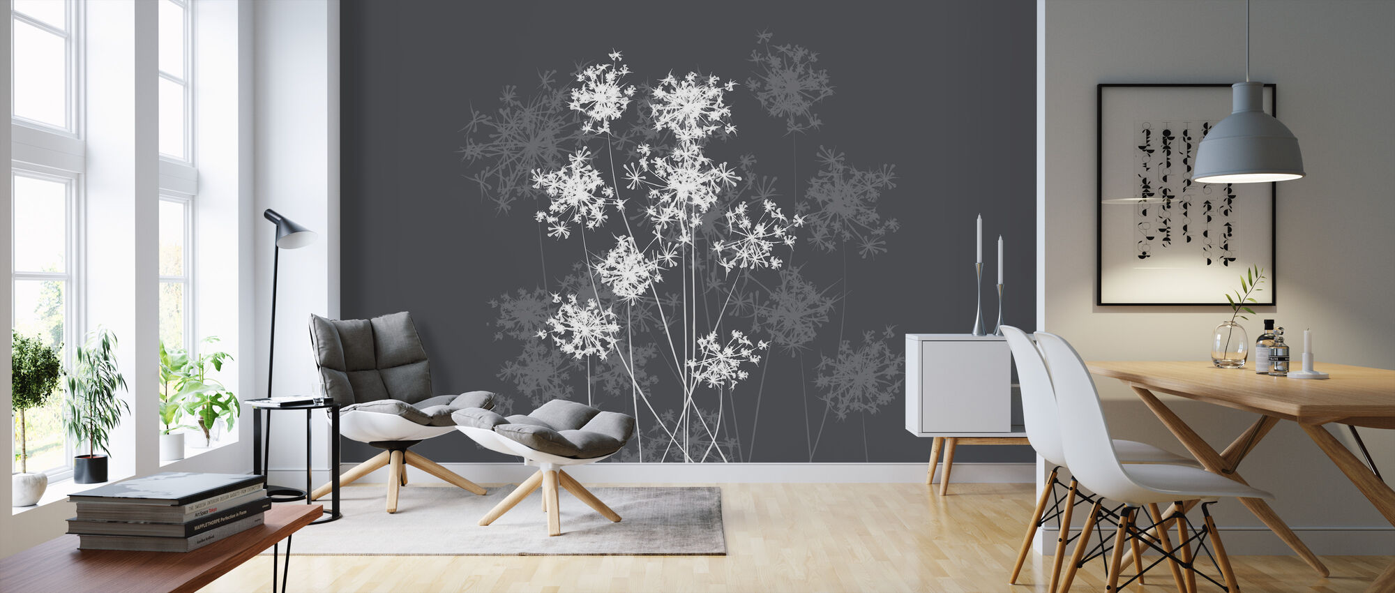 Dandelion Grey - Wallpaper - Living Room