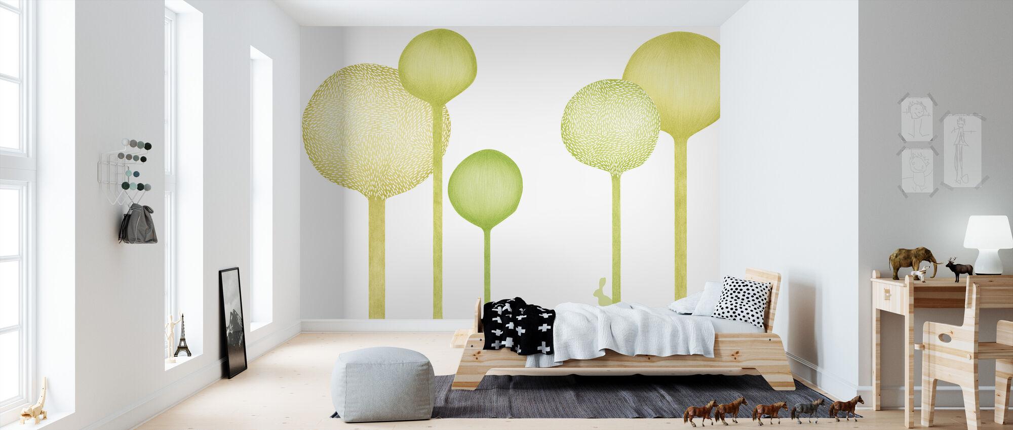 Studio Rita | Elin Öhrling - Forestscape - Green - Wallpaper - Kids Room
