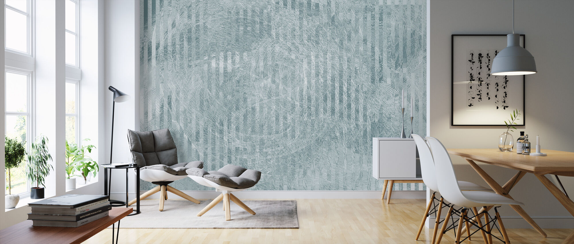 Specular Reflection - Blue Grey - Wallpaper - Living Room