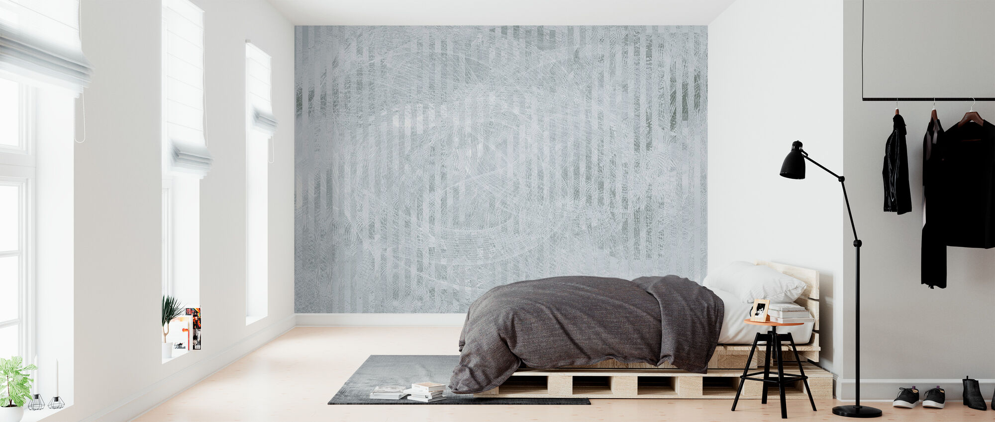 Specular Reflection - Grey Green - Wallpaper - Bedroom
