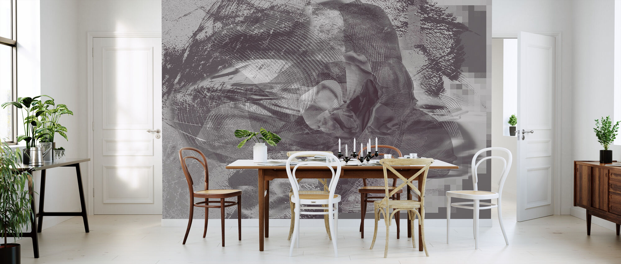 Orchid Chaos - Graphite - Wallpaper - Kitchen
