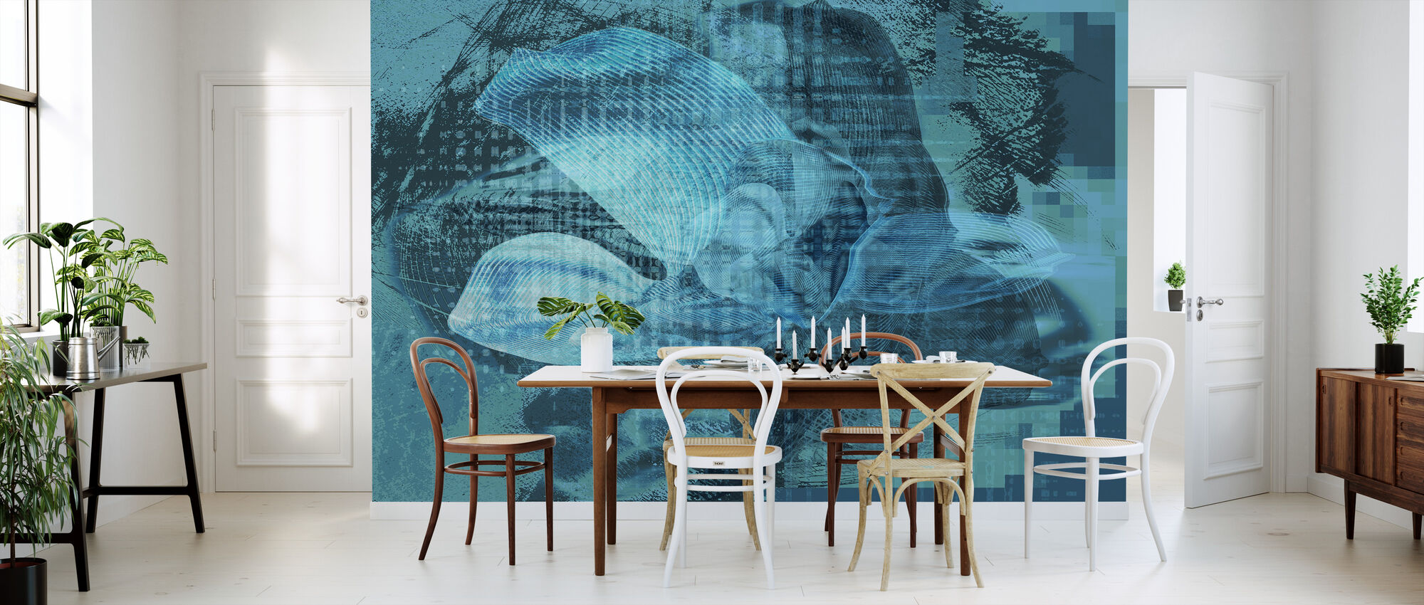 Orchid Chaos - Blue Green - Wallpaper - Kitchen