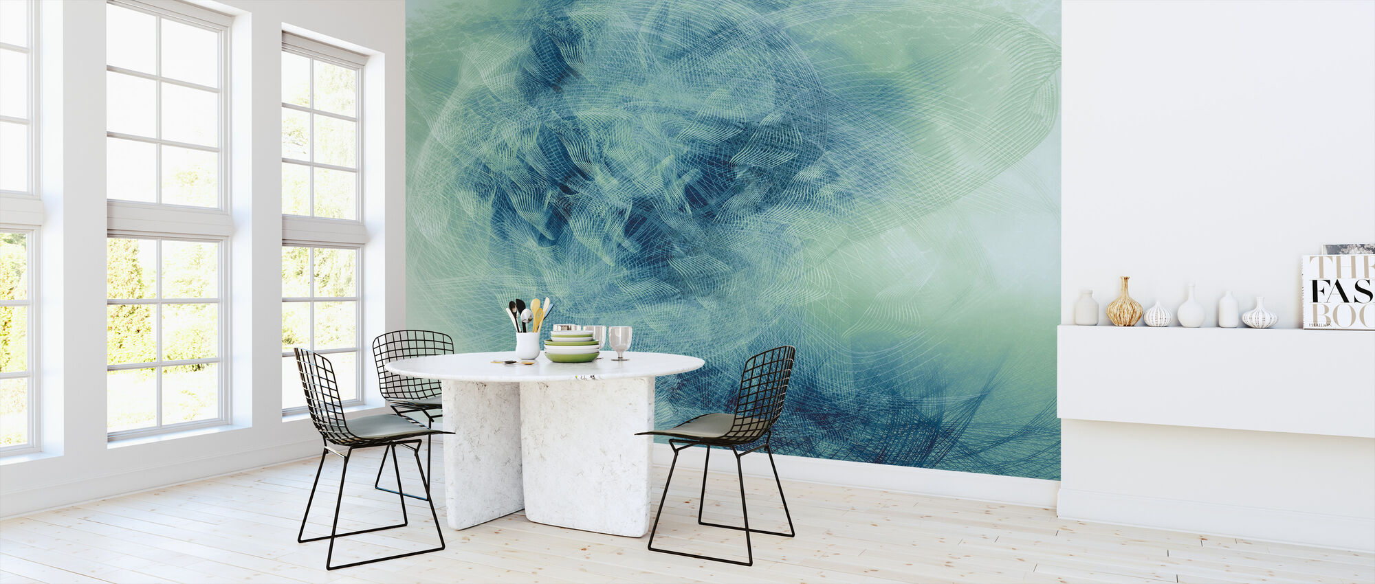 Liquid Lines - Green Blue - Wallpaper - Kitchen