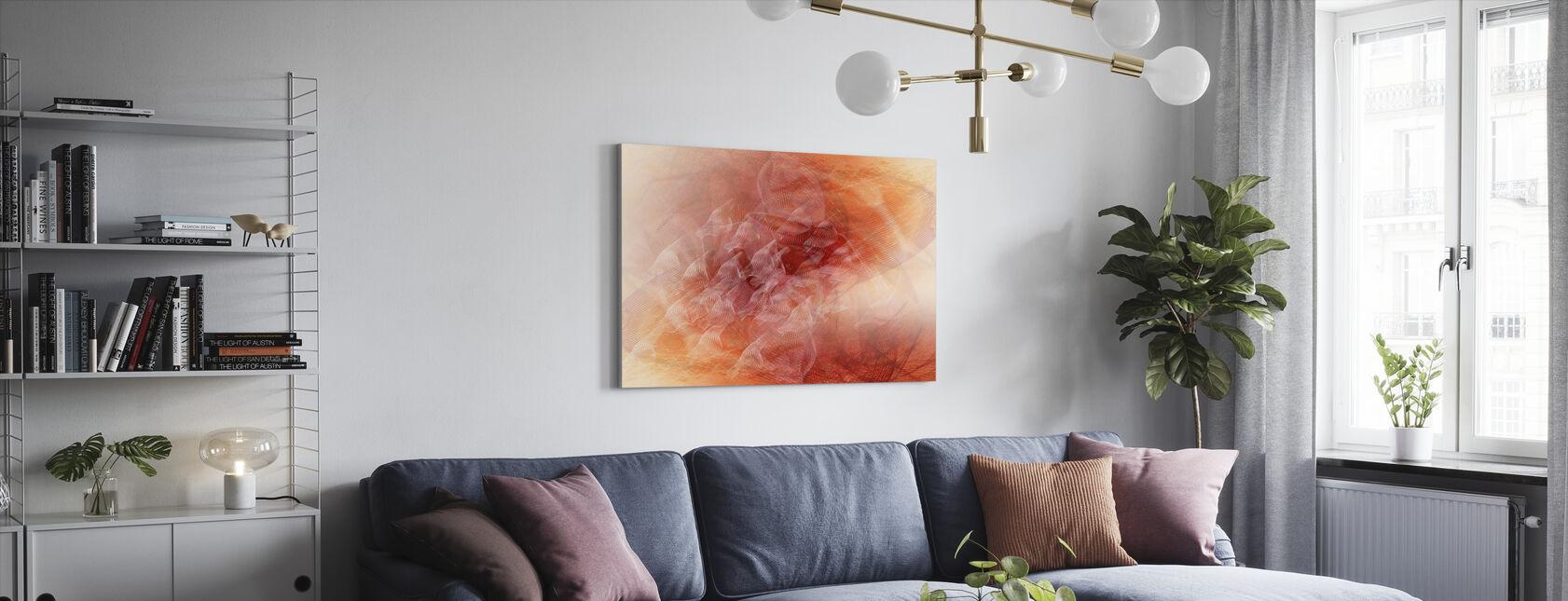 Abstrakte fließende Linien - Orange - Leinwandbild - Wohnzimmer