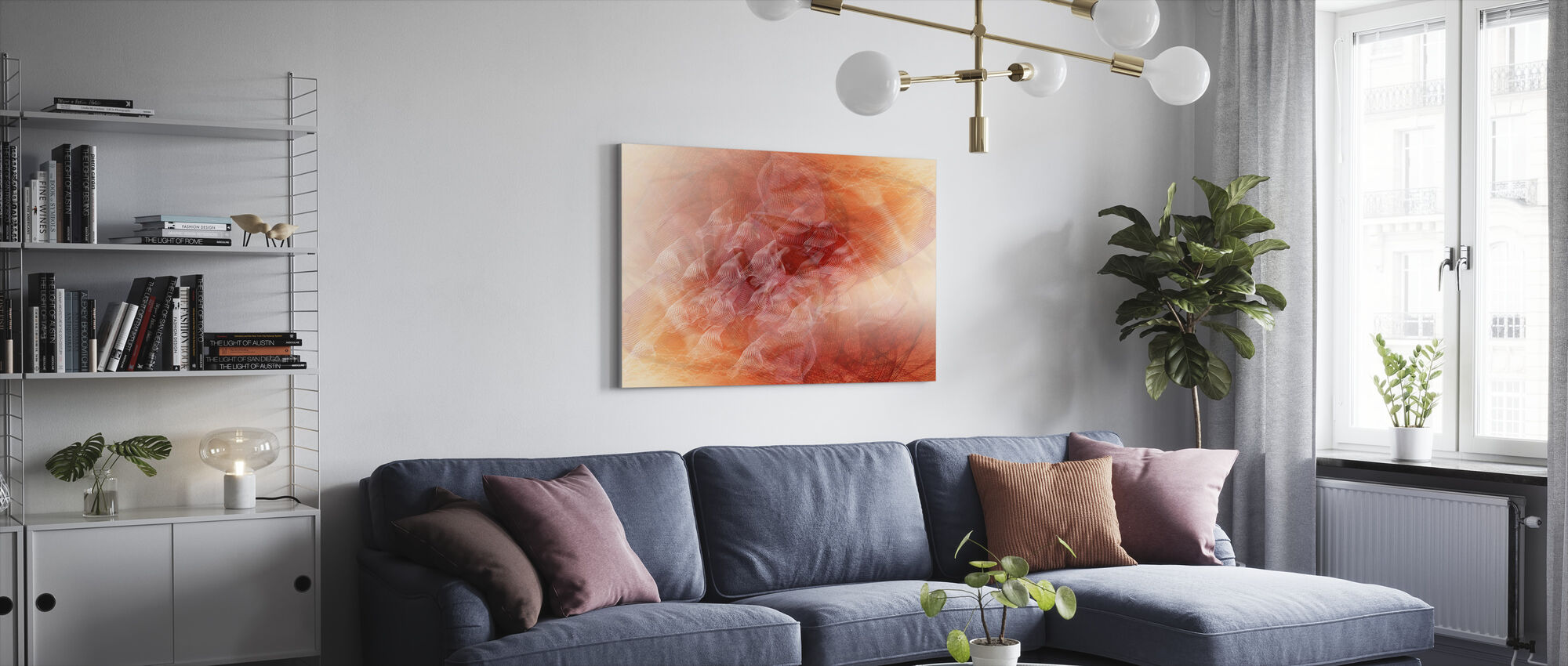 Abstract Flowing Lines - Orange - Canvas print - Living Room