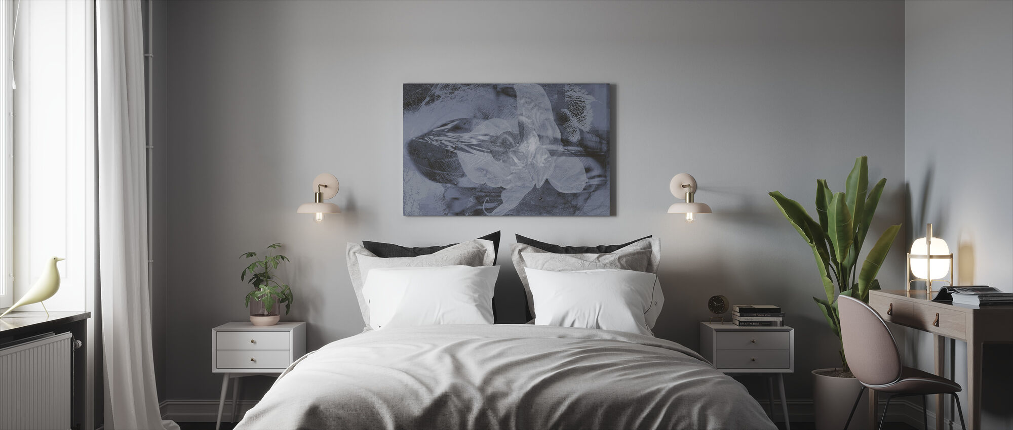 Orchid Chaos - Grey - Canvas print - Bedroom
