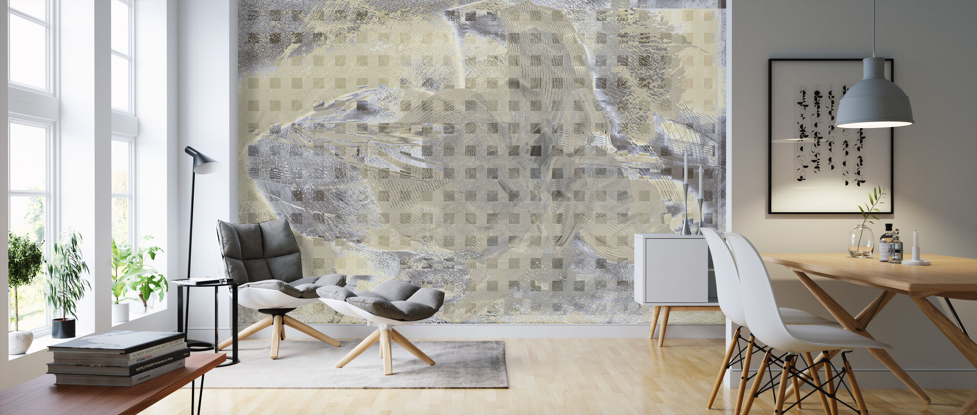 Orchid Chaos - Beige Grey - Wallpaper - Living Room