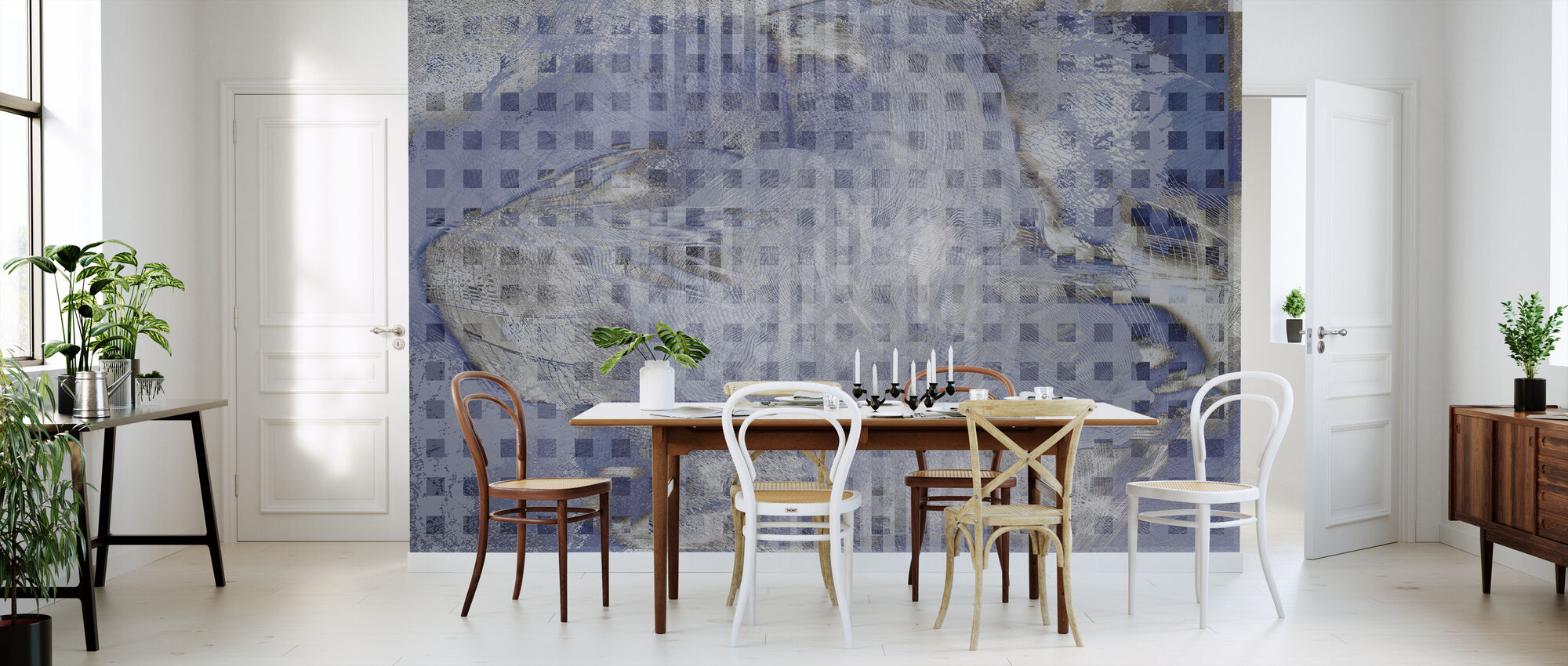 Orchid Chaos - Blue - Wallpaper - Kitchen