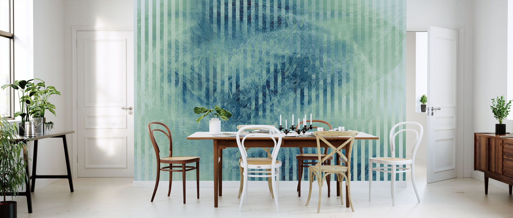 Liquid Lines and Stripes - Green Blue - Wallpaper - Kitchen