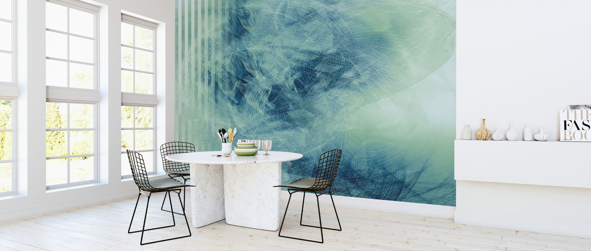 Liquid Lines - Blue Green - Wallpaper - Kitchen