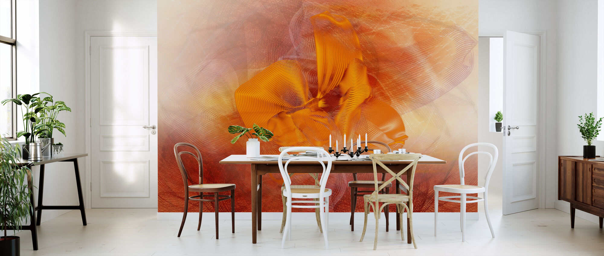 Orchid Chaos - Orange - Wallpaper - Kitchen