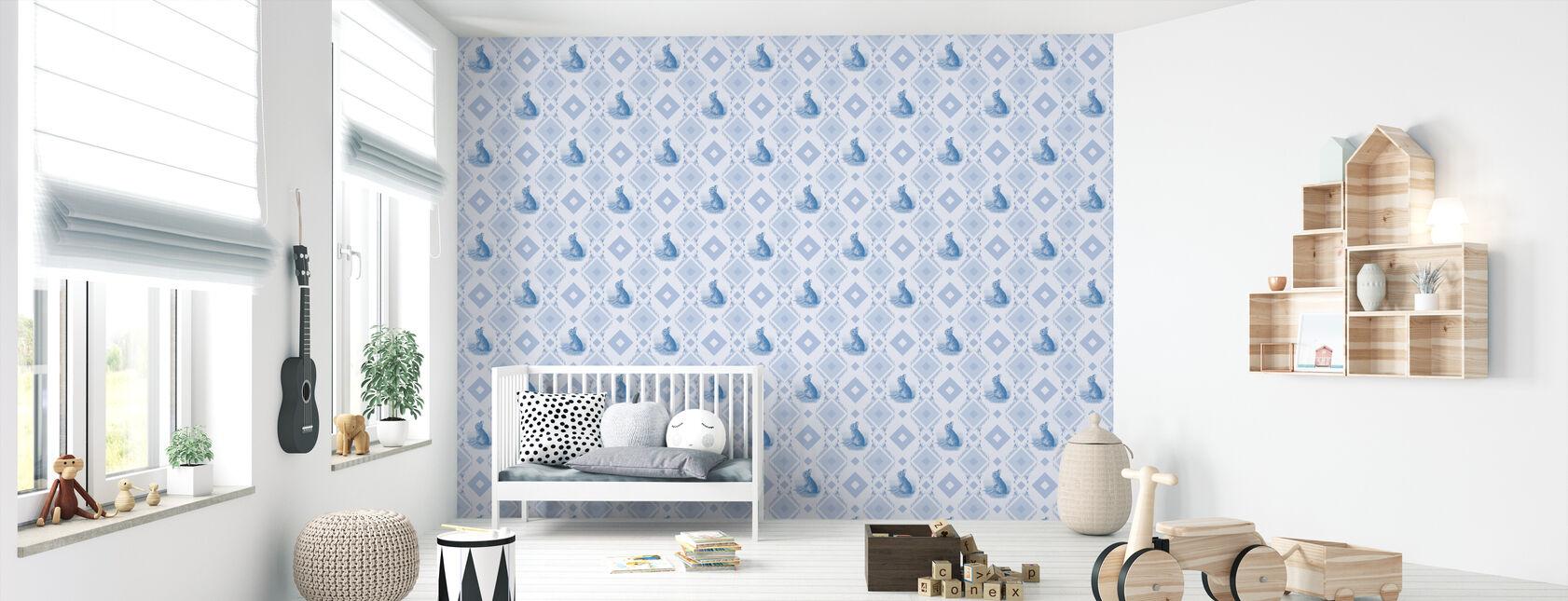 Young Rabbit - Gooseframe Lightblue - Wallpaper - Nursery