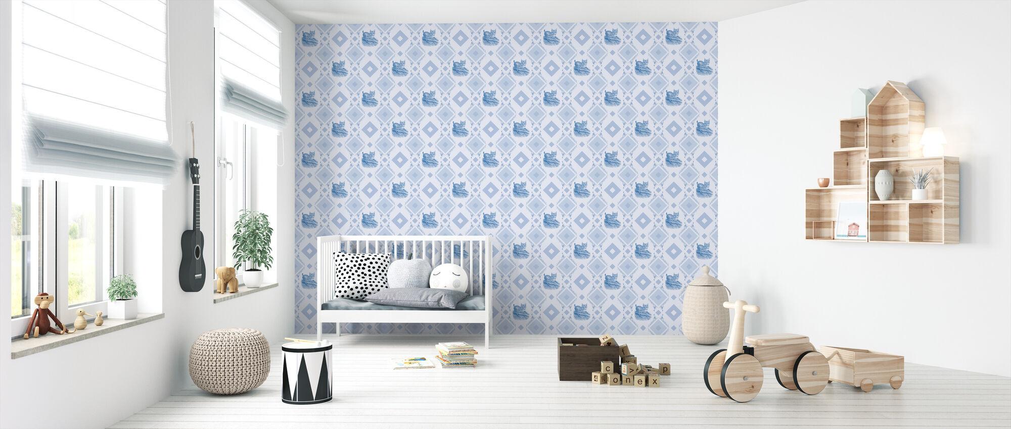 Lynx - Gooseframe Lightblue - Wallpaper - Nursery