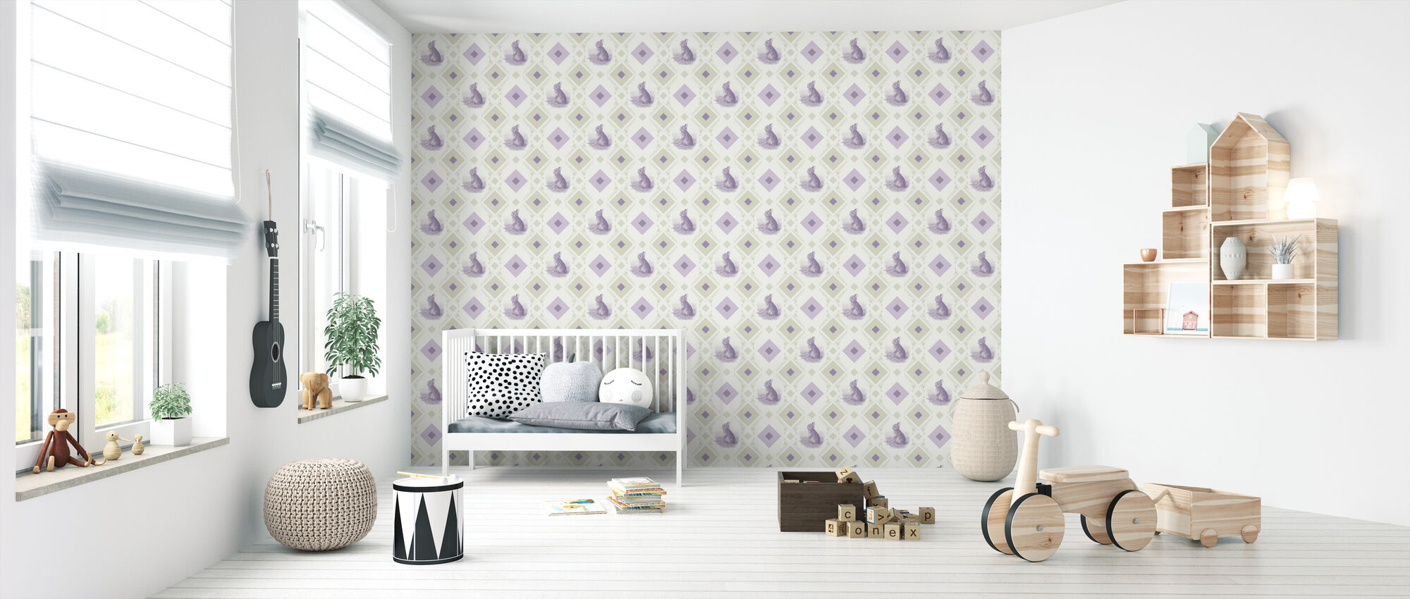 Rabbit - Gooseframe - Green Purple - Wallpaper - Nursery