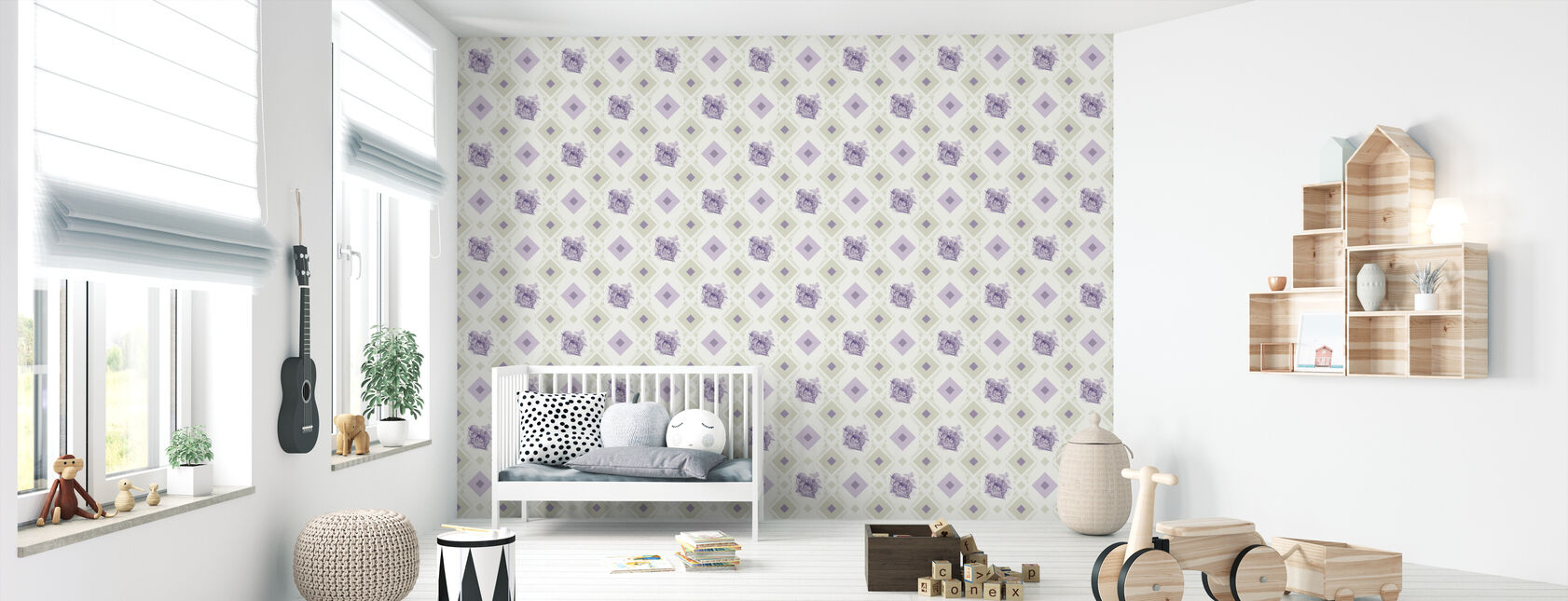 Dormouse - Gooseframe - Green Purple - Wallpaper - Nursery
