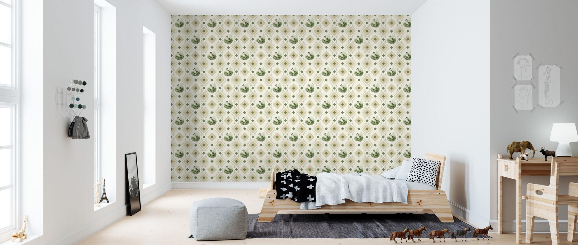 Ducklin - Gooseframe - Green Beige - Wallpaper - Kids Room