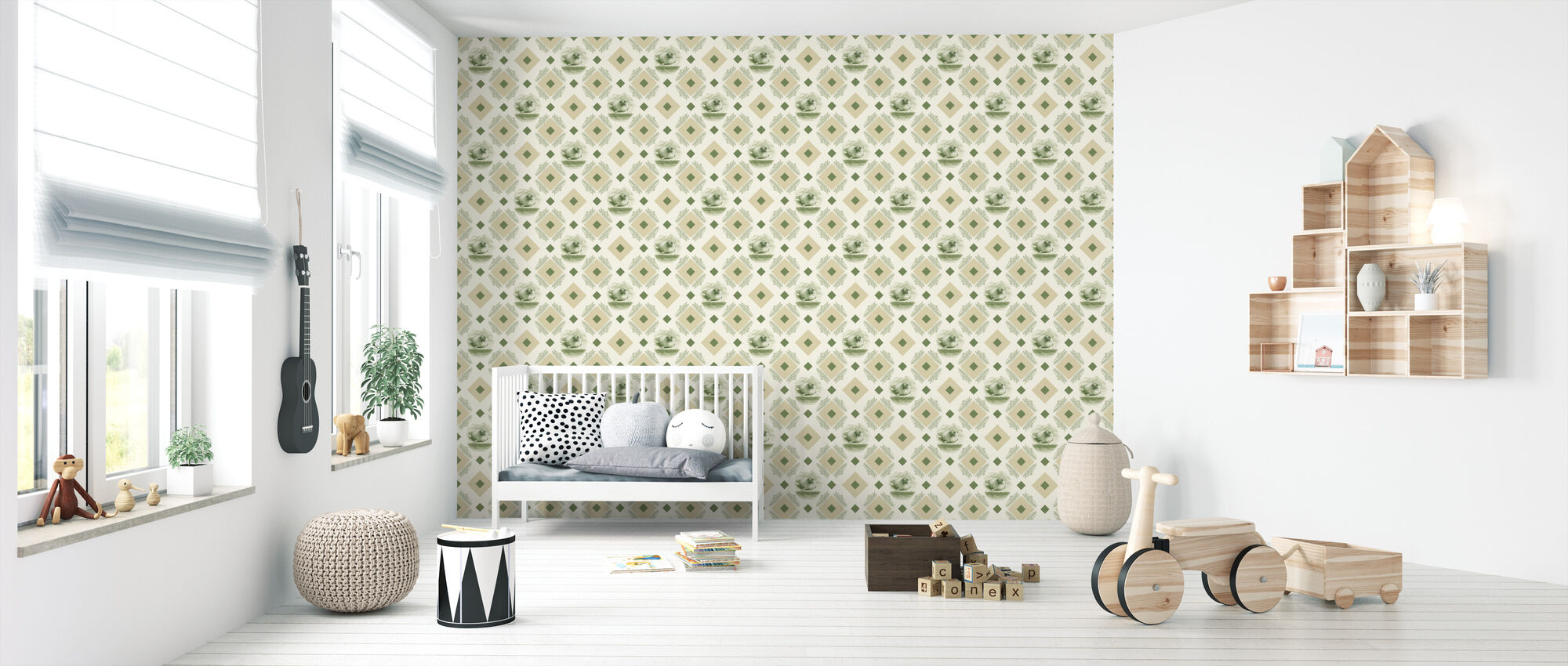 Sealpup - Green Beige - Wallpaper - Nursery