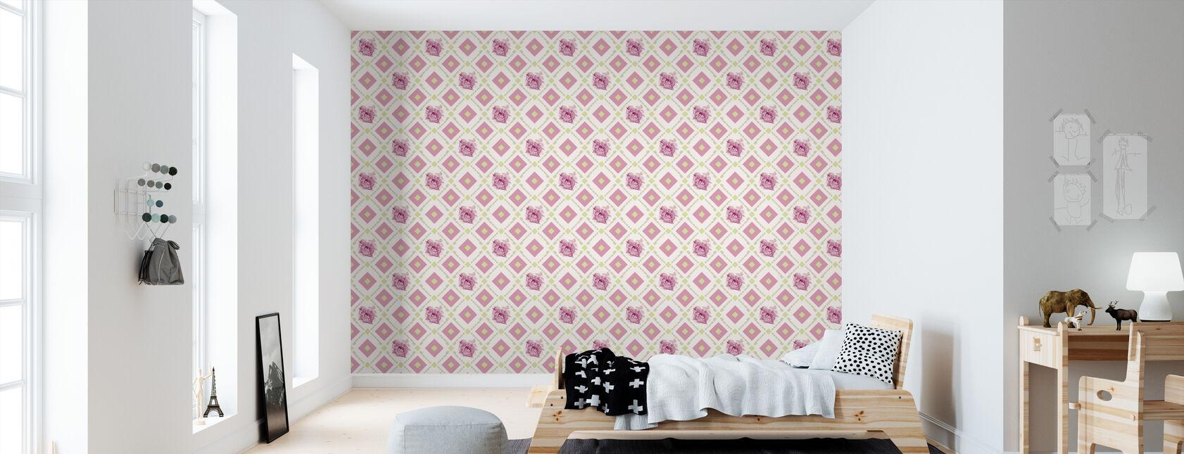 Dormouse - hedgehogframe - Pink Green - Wallpaper - Kids Room