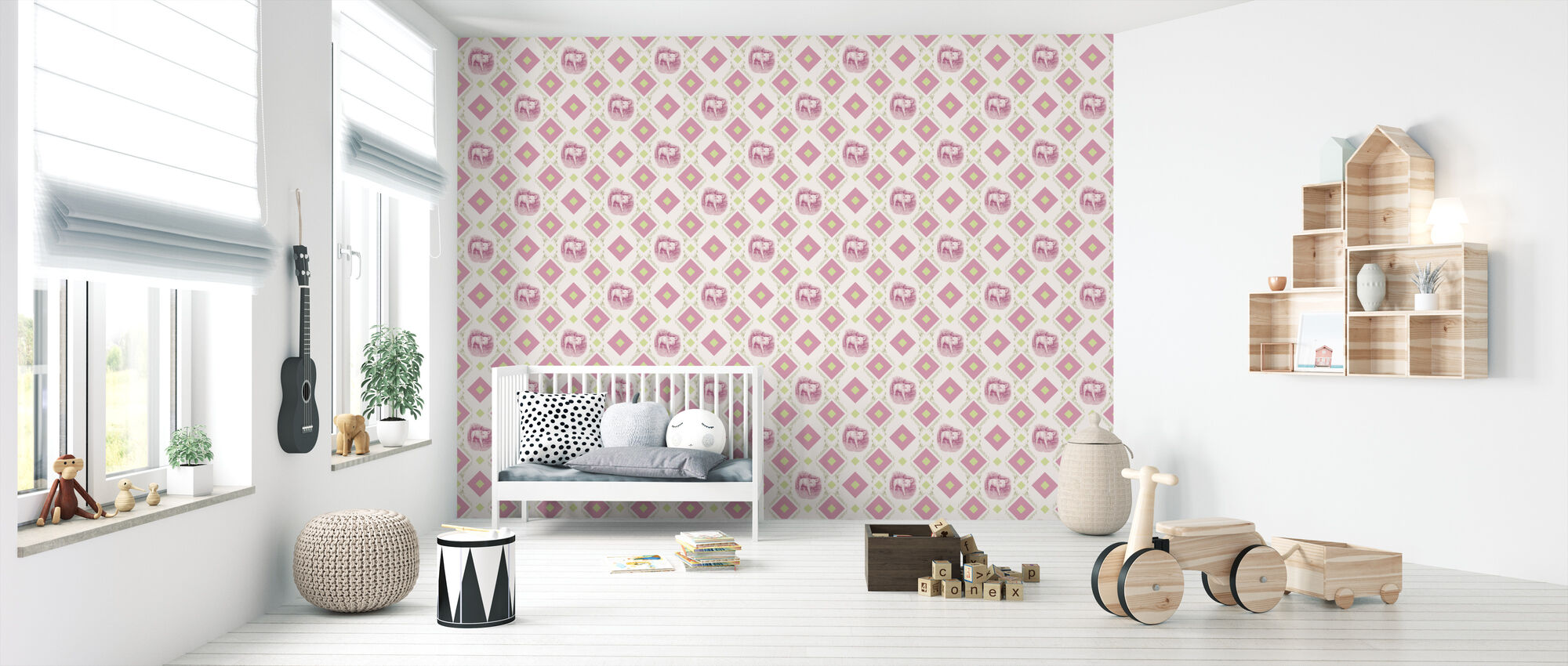 Pigglet - Gooseframe - Pink Green - Wallpaper - Nursery