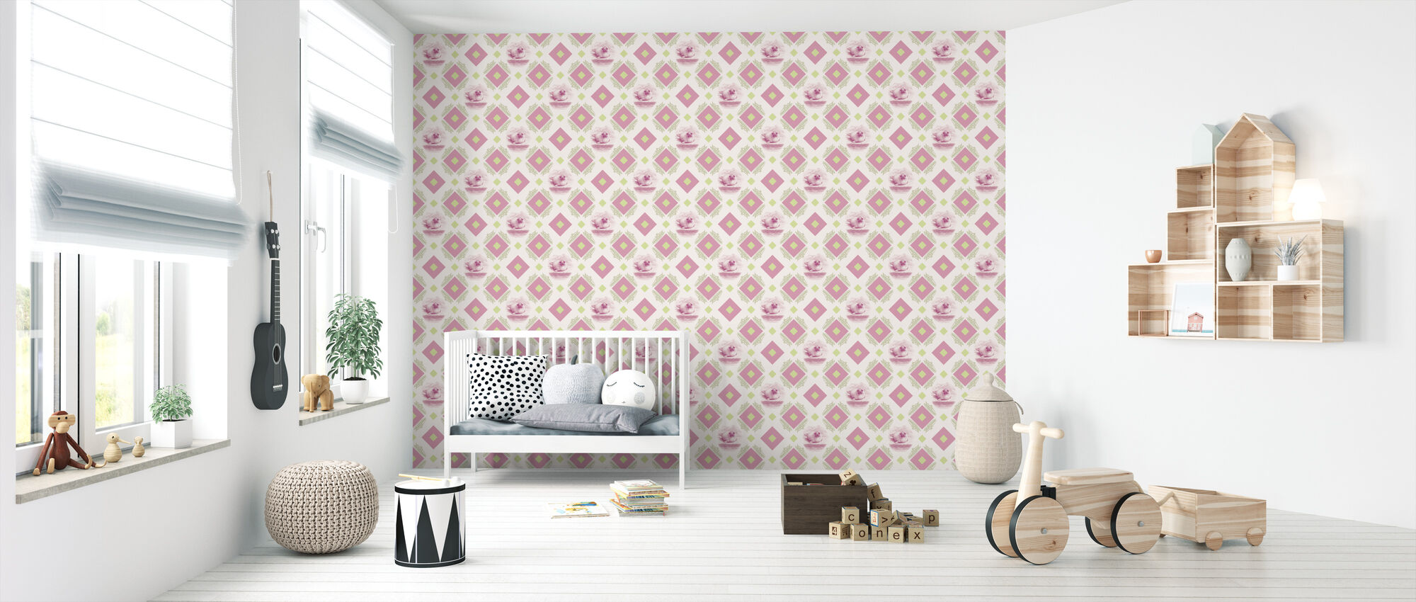 Sealpup - Pink Green - Wallpaper - Nursery