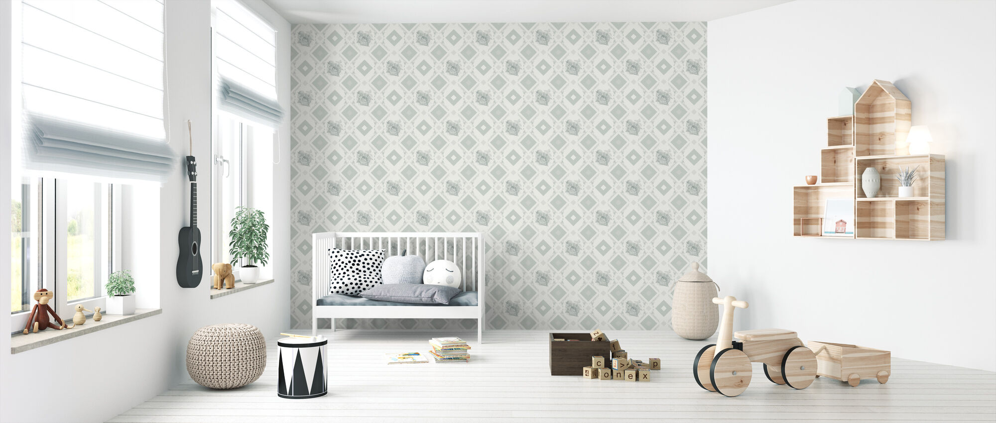 Dormouse - Green Gray - Wallpaper - Nursery