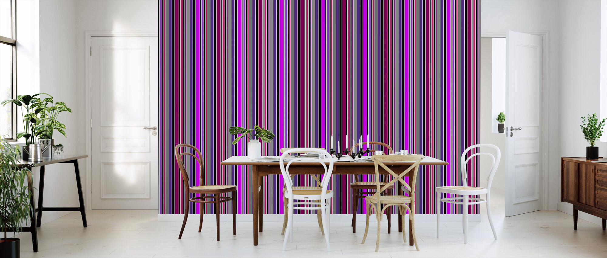 Standing Stripes - Purple - Wallpaper - Kitchen
